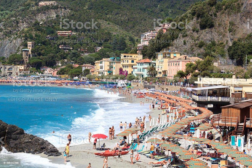 Beach at Cinque Terre village Monterosso and Mediterranean Sea, Italy stock photo
