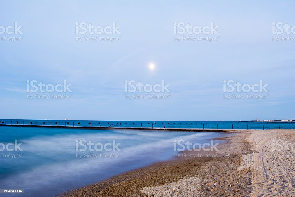 Beach at Dusk. stock photo