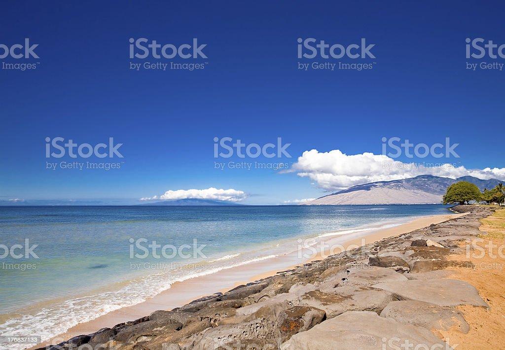 Beach at Kalama Park on Maui stock photo