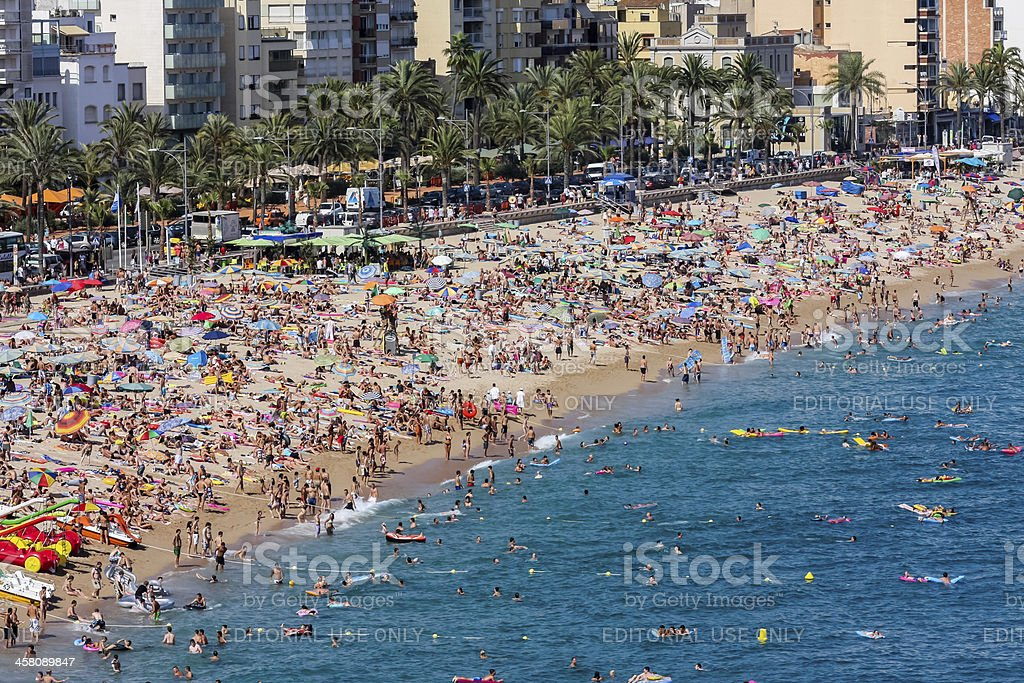 Beach at Lloret de Mar in Spain royalty-free stock photo