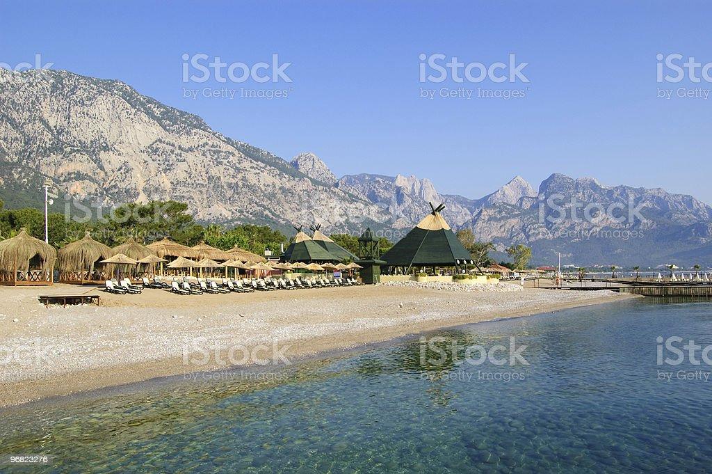 Beach at Mediterranean Sea, Antalya, Turkey stock photo