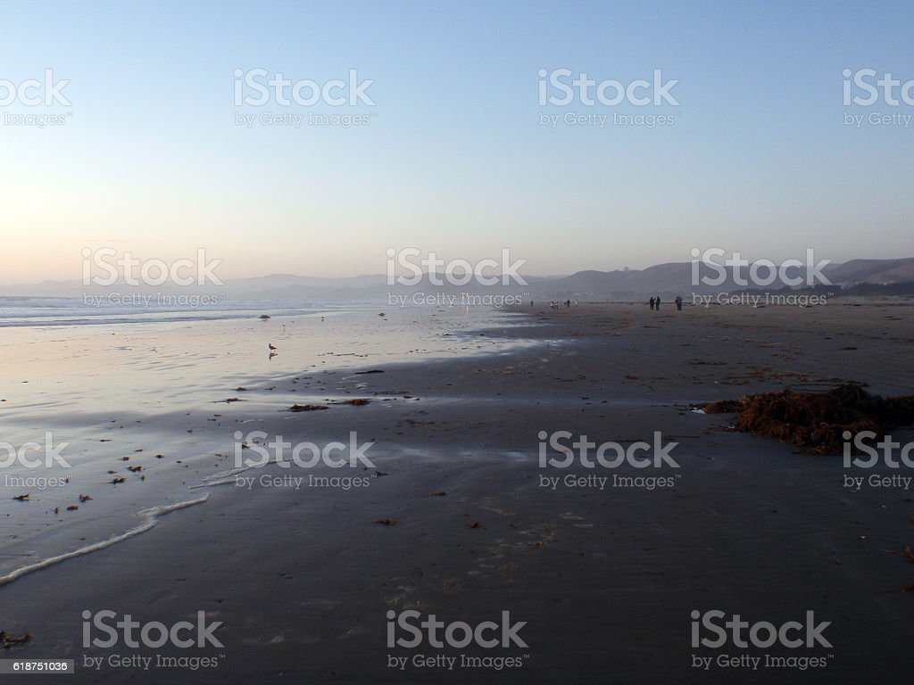Beach at Morro Bay at Dusk stock photo