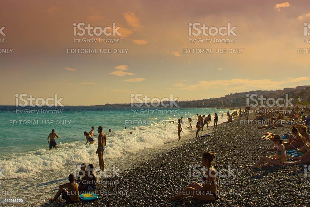 Beach at Nice, France stock photo