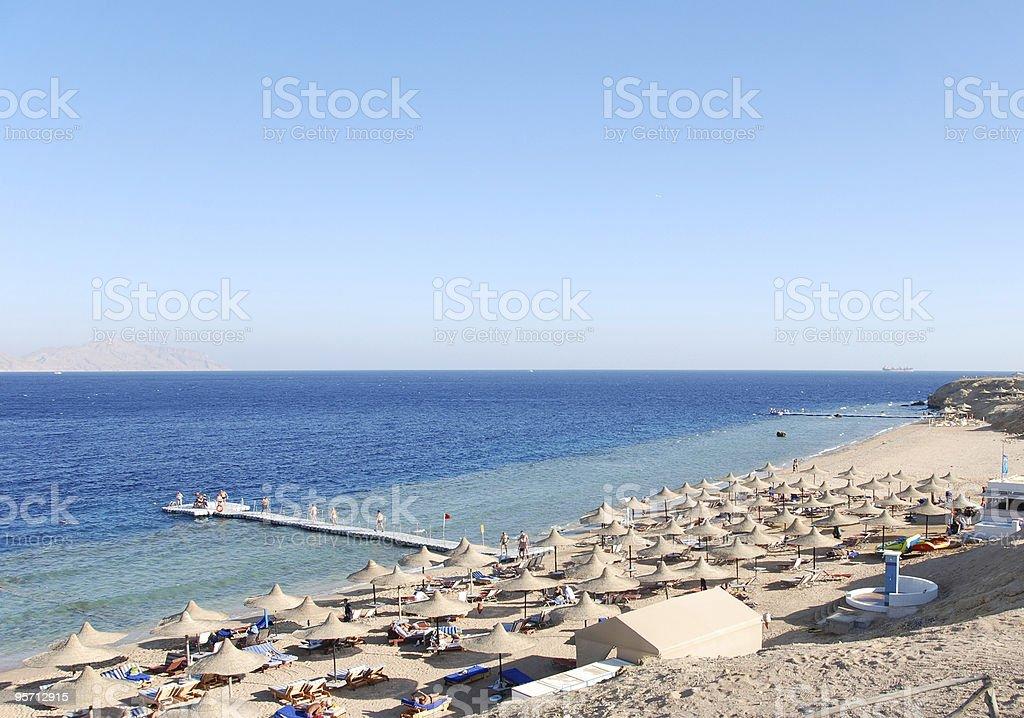 Beach at popular hotel in Sharm el Sheikh, Egypt stock photo