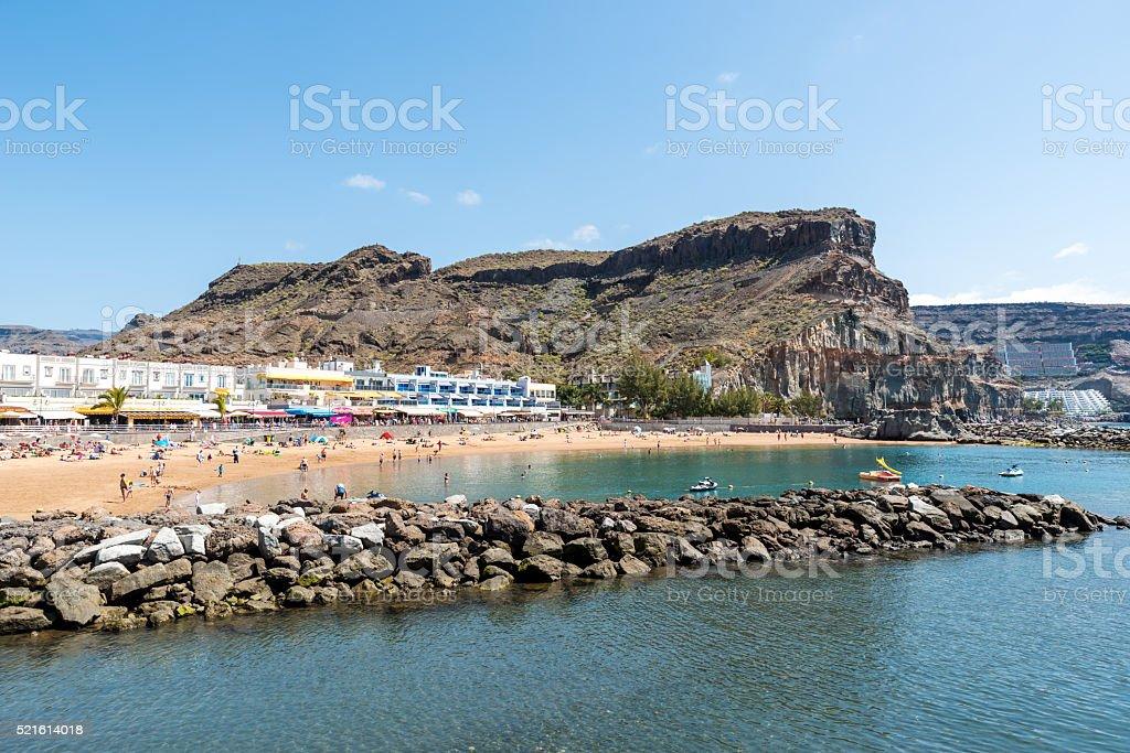 Beach at Puerto Mogan - Playa Mogan stock photo