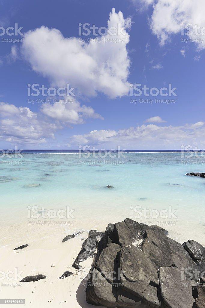 Beach at Rarotonga on Cook Island in Polynesia royalty-free stock photo