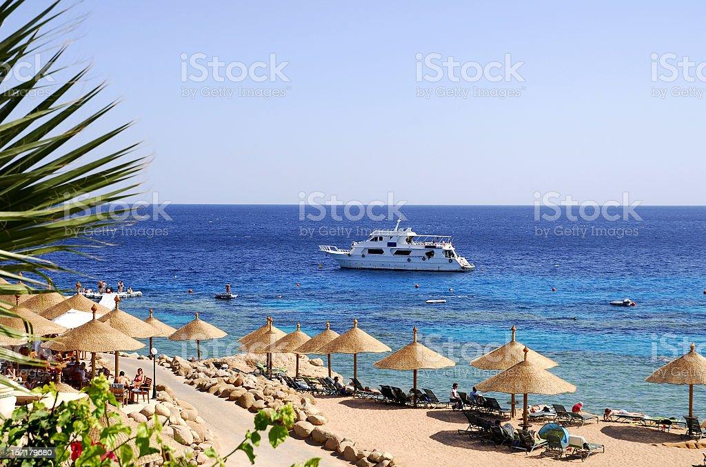 Beach at Red Sea,Naama Bay,Sharm El Sheikh,Egypt. royalty-free stock photo