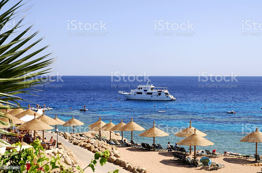 Beach at Red Sea,Naama Bay,Sharm El Sheikh,Egypt. stock photo