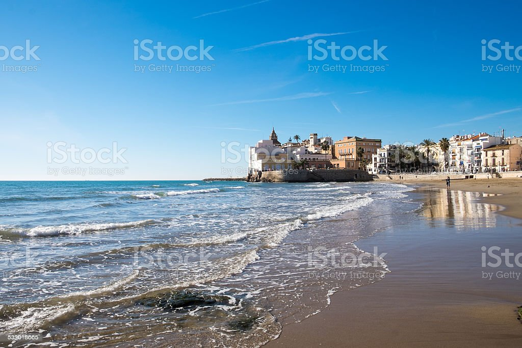 Beach at Sitges in Spain stock photo