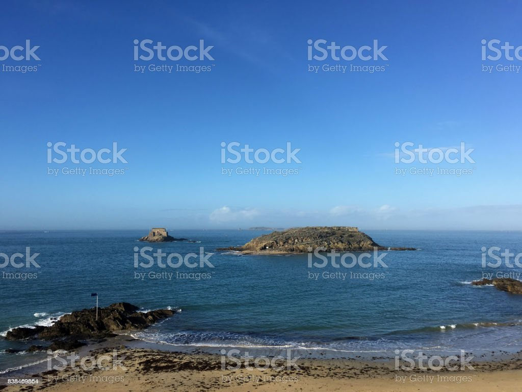 Beach at St Malo stock photo
