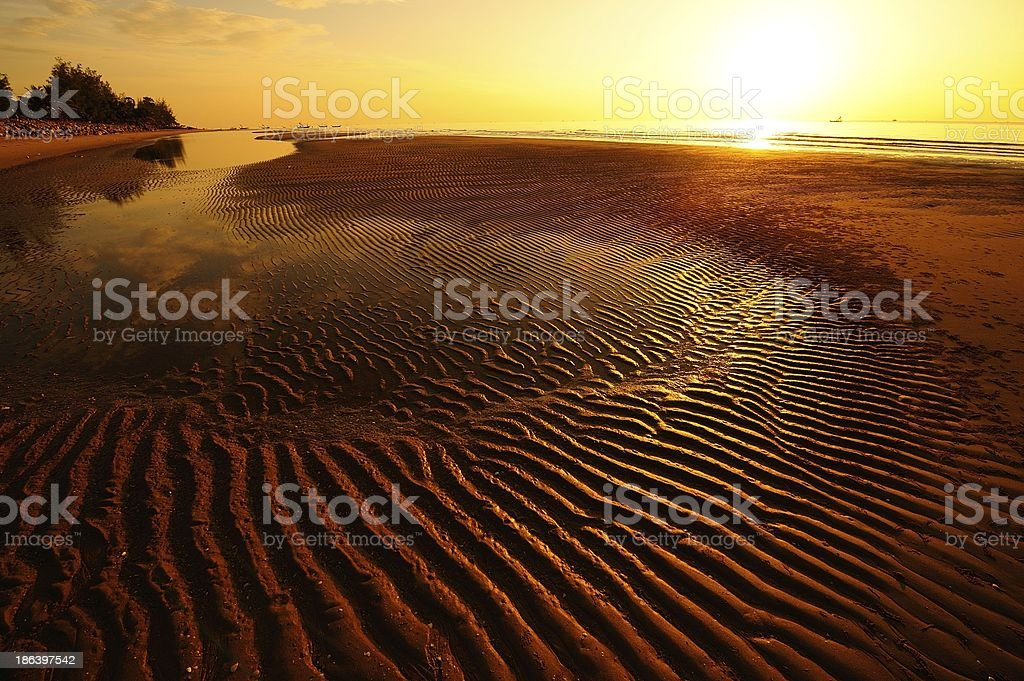 Beach at Sunrise Background royalty-free stock photo