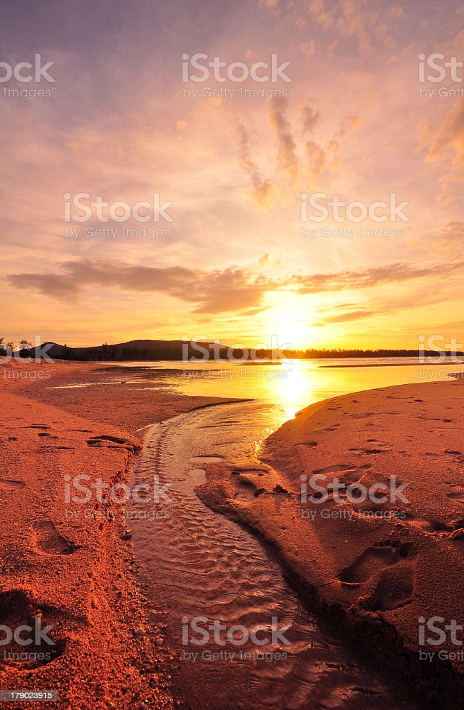Beach at Sunset and Cloudscape Background royalty-free stock photo