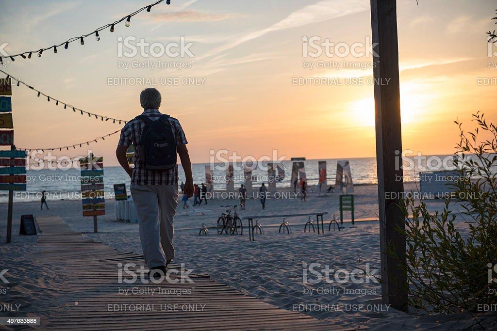 Beach at sunset in Liepaja, Latvia stock photo