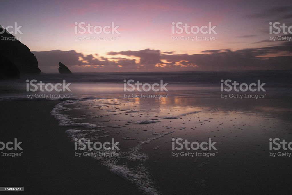 Beach at Sunset in Portugal stock photo