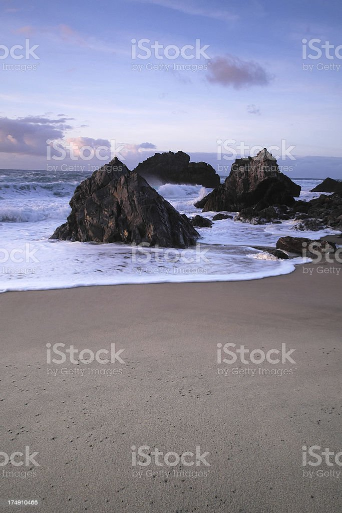 Beach at Sunset in Sintra stock photo