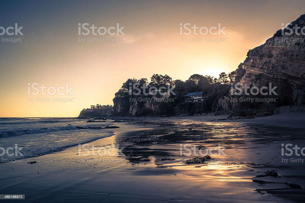 Beach At Sunset, Paradise Cove In Malibu, CA royalty-free stock photo