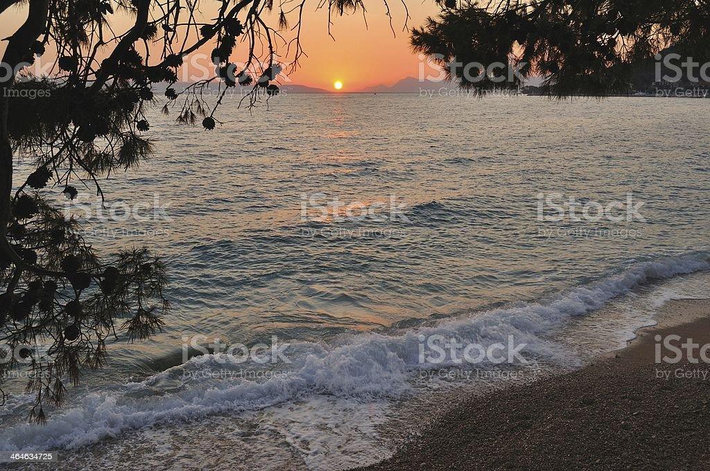 Plaża o zachodzie słońca zbiór zdjęć royalty-free