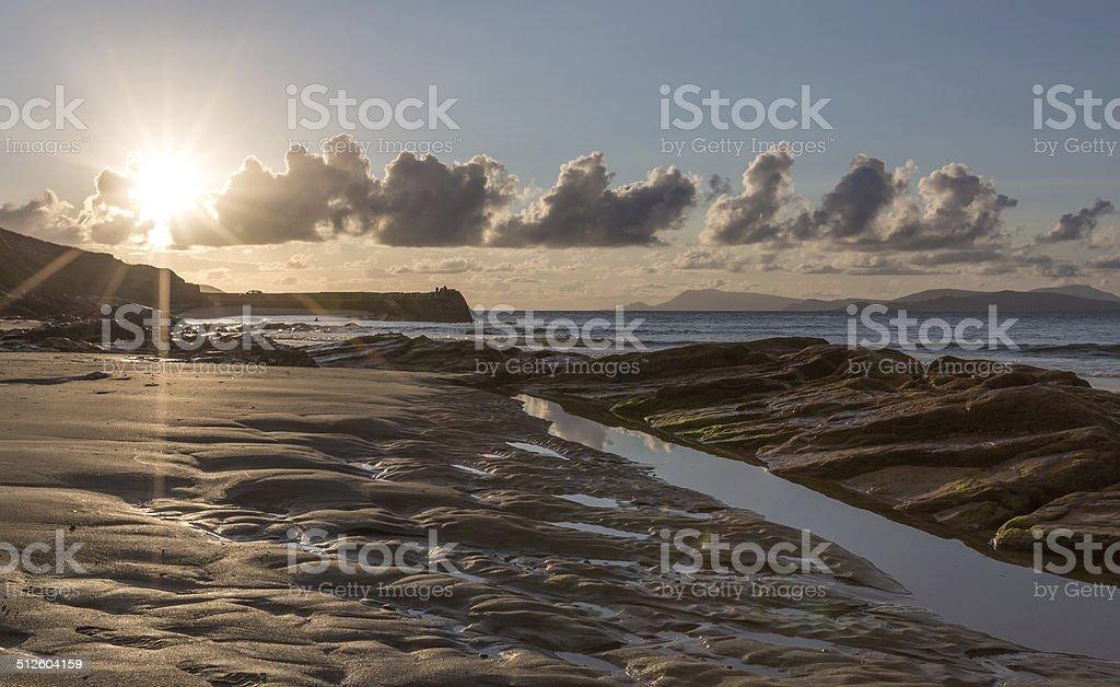 Beach at sunset royalty-free stock photo