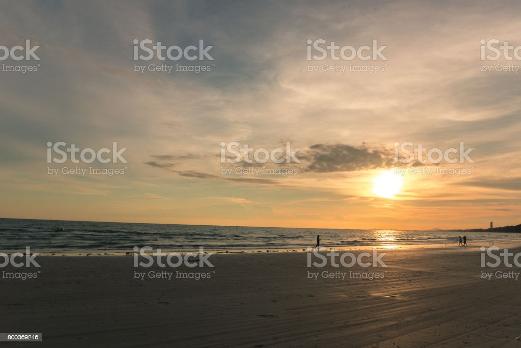Beach at sunset ( Filtered image processed vintage effect.) stock photo