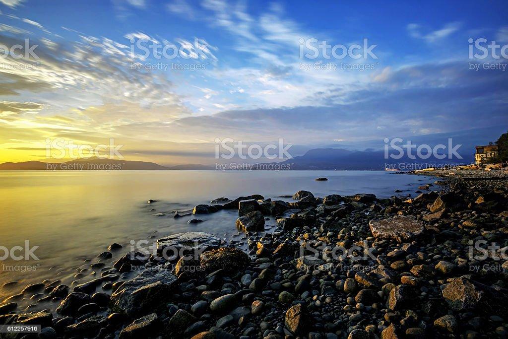 beach at sunset, Vancouver, British Columbia, Canada stock photo