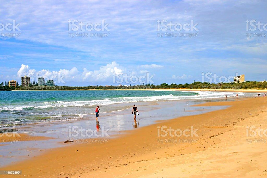 Beach at Sunshine Coast, Australia with expansive cloudy sky stock photo