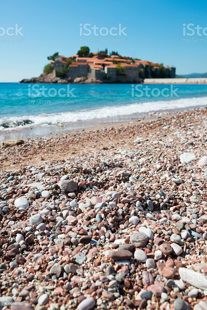 Beach at Sveti Stefan, Budva, Montenegro stock photo