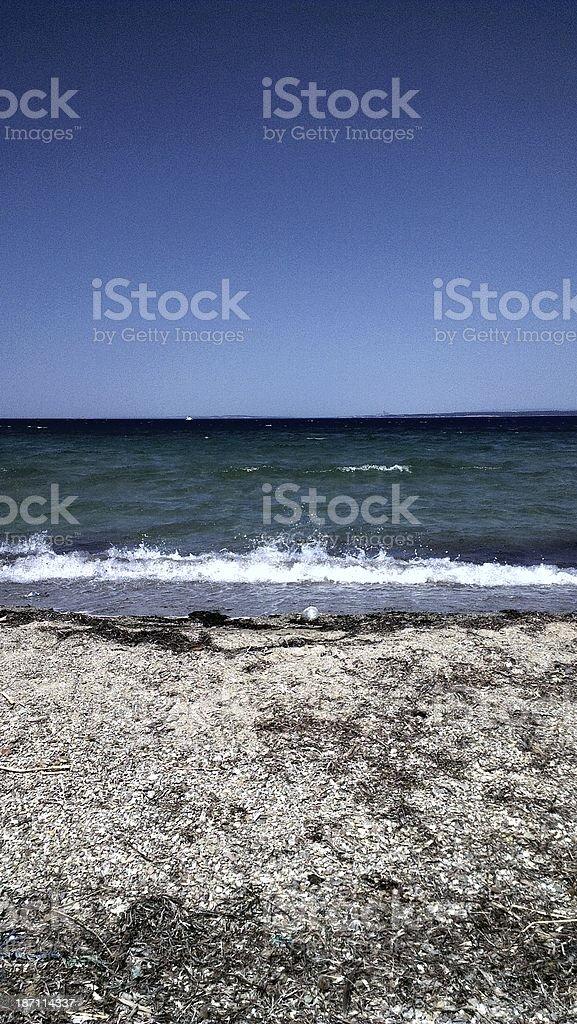 Beach at the Aegean Sea , Bozcaada, Turkey royalty-free stock photo