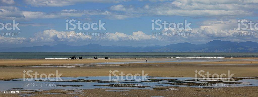 Beach at the edge of the Abel Tasman National Park stock photo