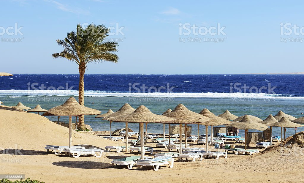 Beach at the luxury hotel, Sharm el Sheikh, Egypt stock photo