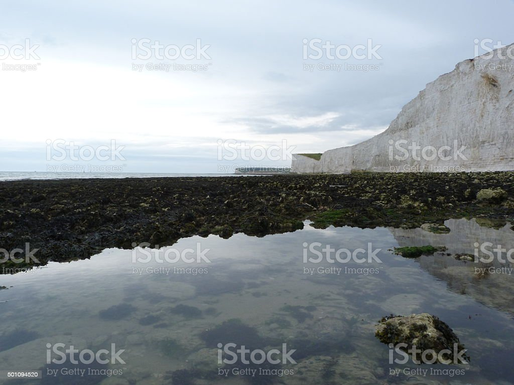 Beach at The Seven Sisters Near Eastbourne East Sussex UK stock photo