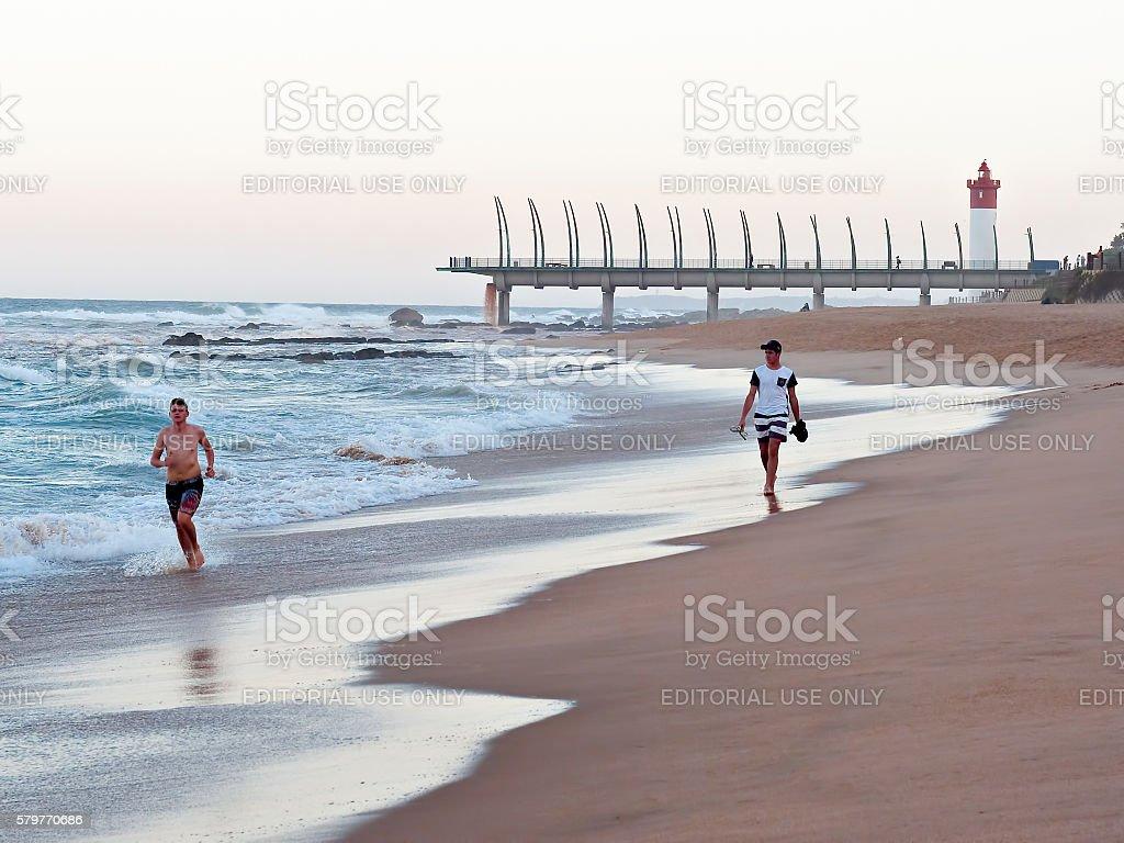 beach at Umhlanga Rocks stock photo