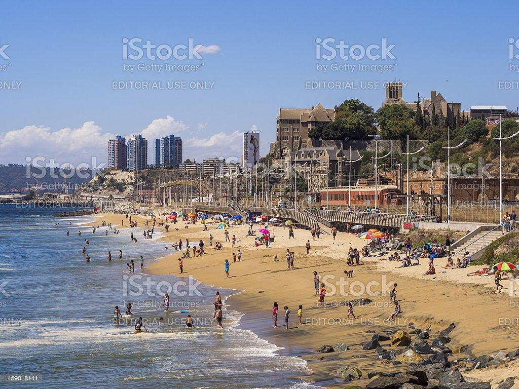 Beach at Valparaiso, Chile stock photo