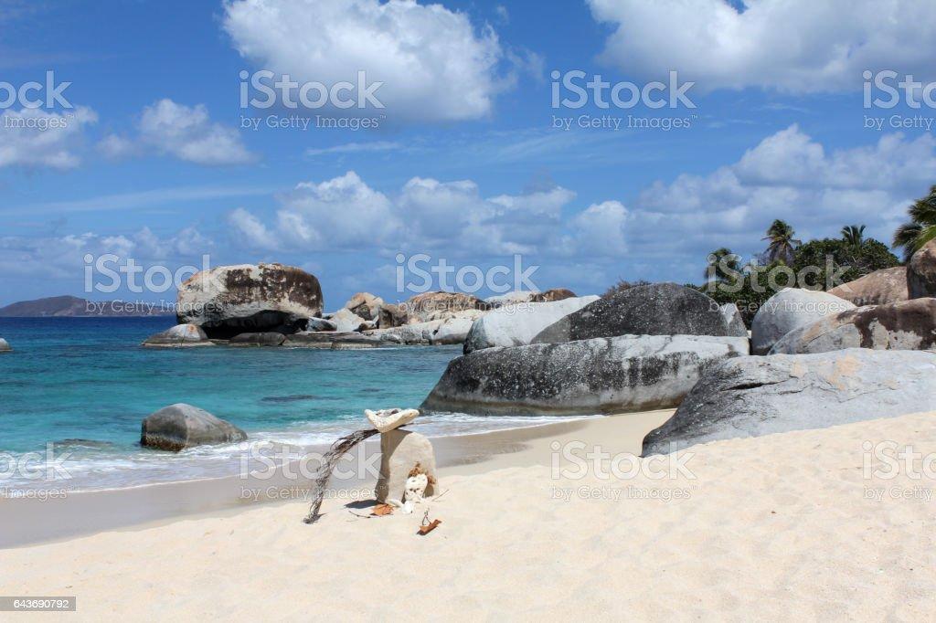 Beach at Virgin Gorda, British Virgin Islands stock photo
