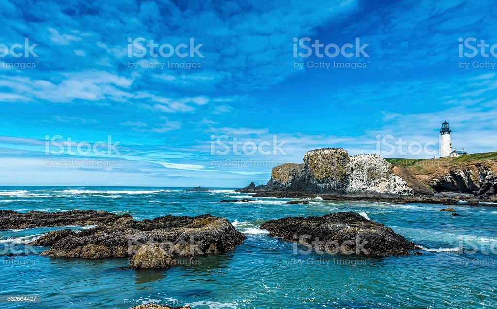 Beach at Yaquina Head Lighthouse, Oregon Coast stock photo