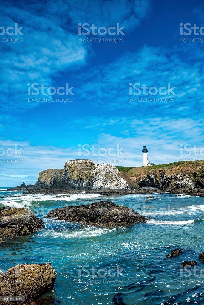 Beach at Yaquina Head Lighthouse, Oregon Coast stock photo
