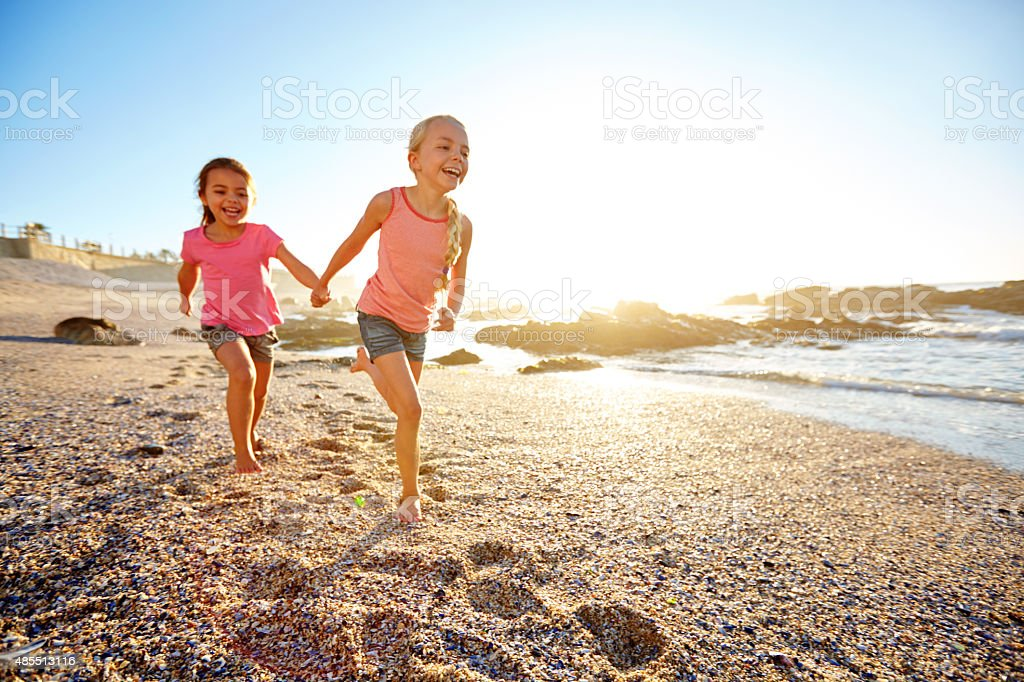 Beach babies stock photo