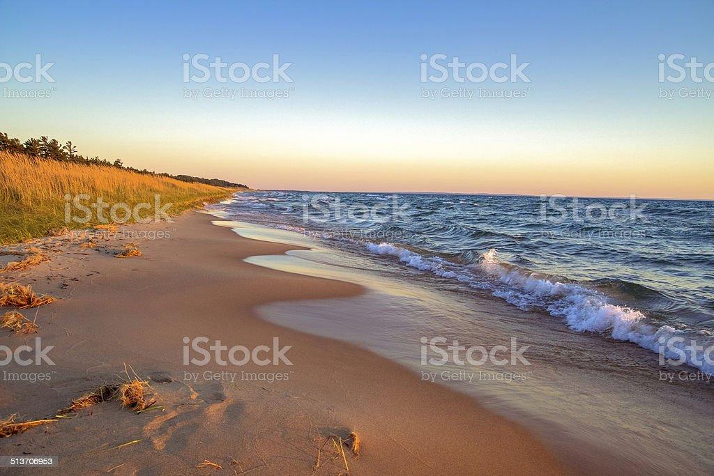 Beach Background At Sunset stock photo