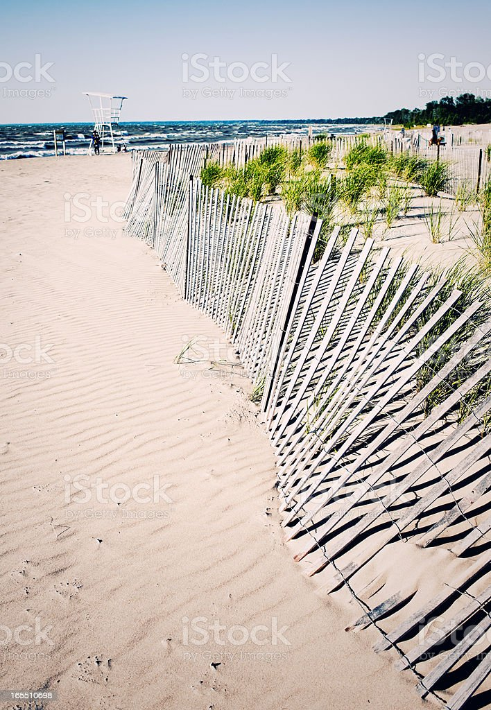 Beach Background, Dunes and Wooden Fence stock photo