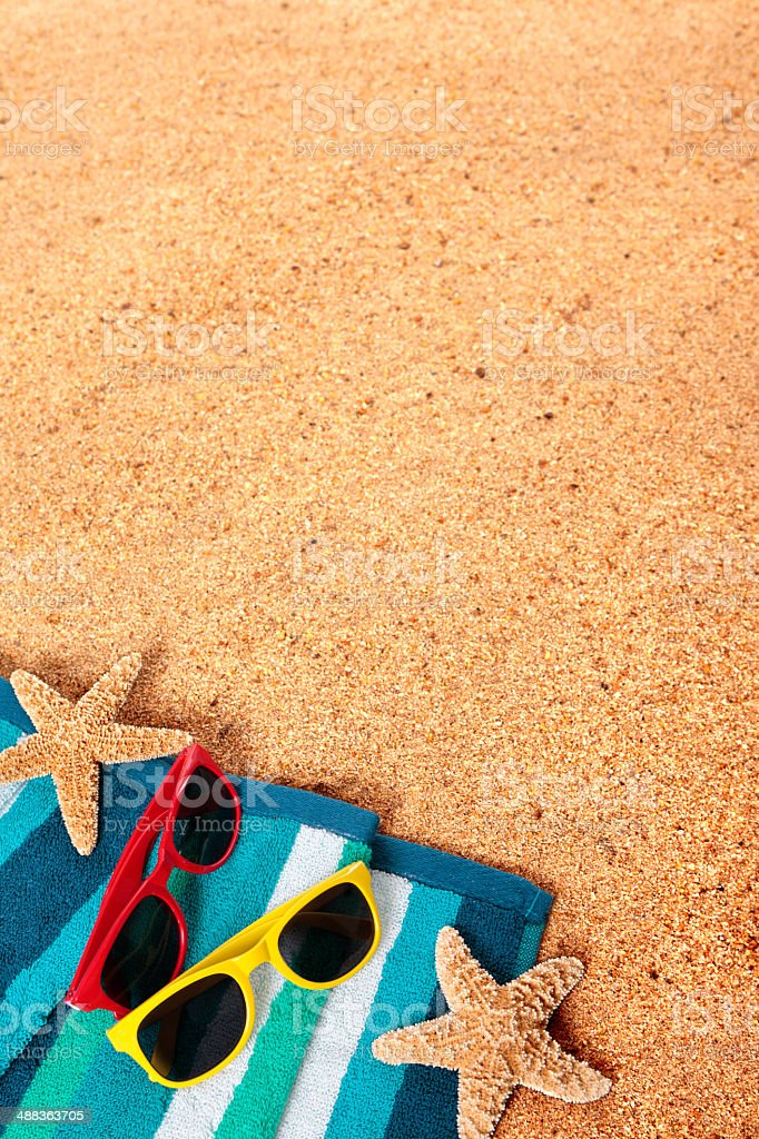 Beach background scene with sunglasses and starfish stock photo