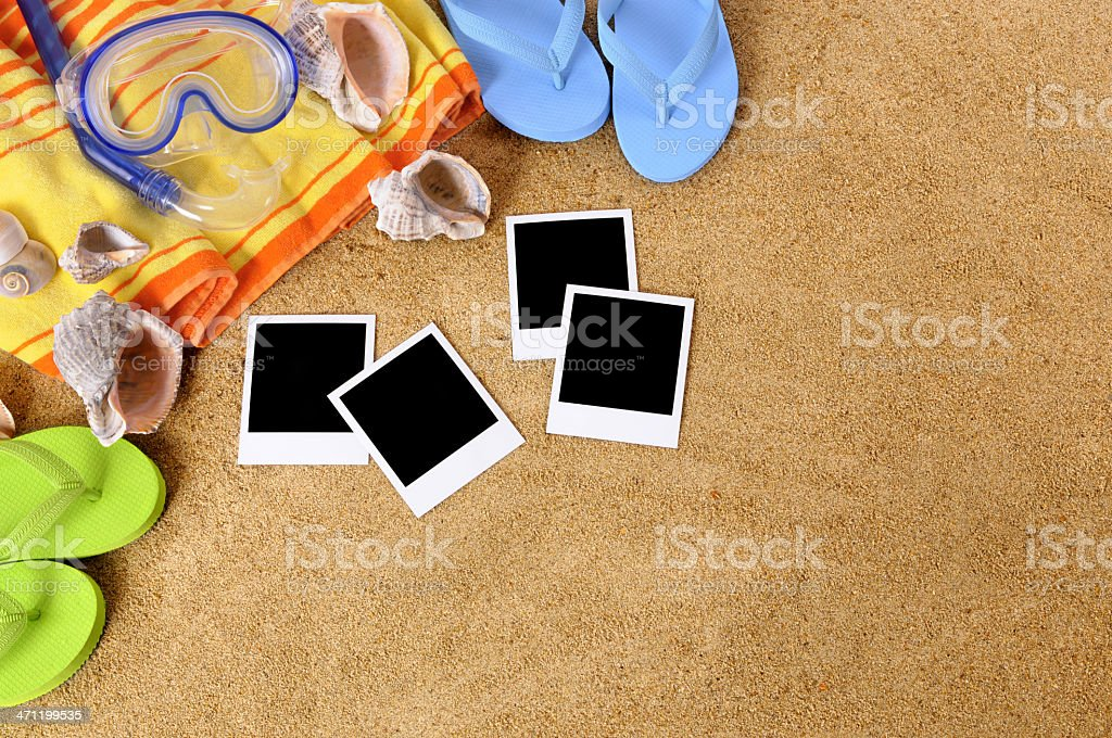 Beach background with blank photos royalty-free stock photo