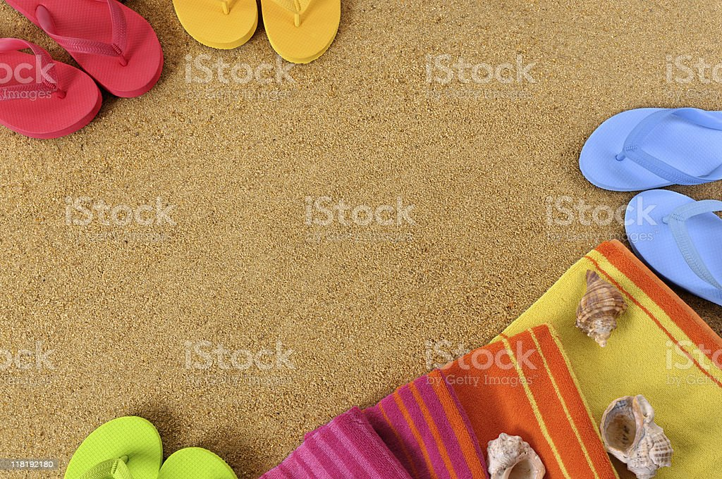 Beach background with towel and flip flops . To see my complete...