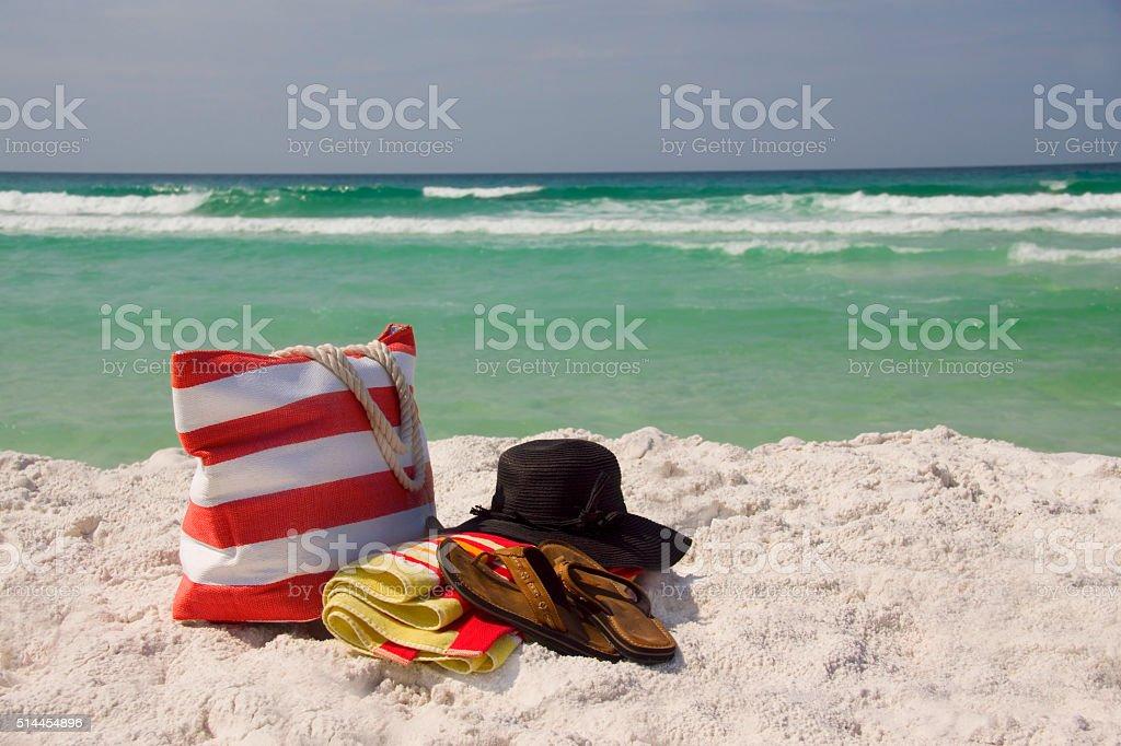 Beach Bag Hat Towel Sandals Horizon stock photo