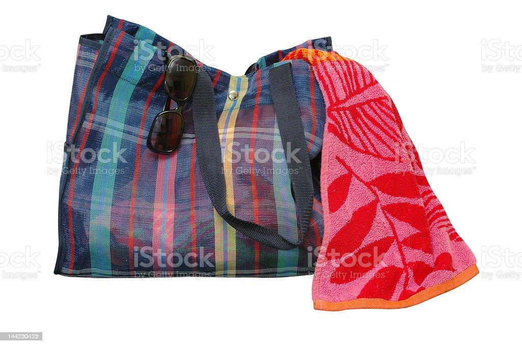 Beach Bag, Towel, and Sunglasses Isolated stock photo
