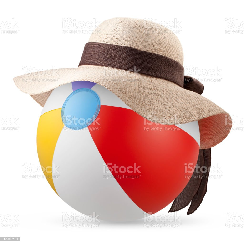 Beach bag with sun hat royalty-free stock photo