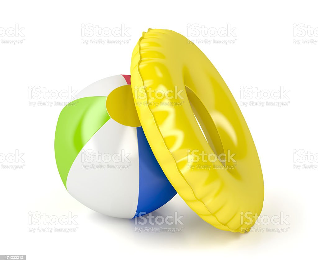 Beach ball and swim ring stock photo