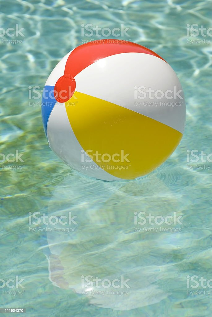 Beach Ball Floating In Swimming Pool Vertical royalty-free stock photo
