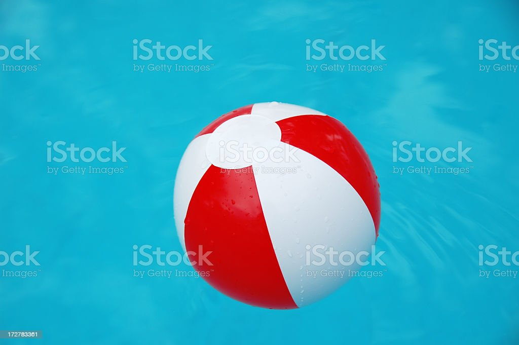 Beach ball in water. royalty-free stock photo