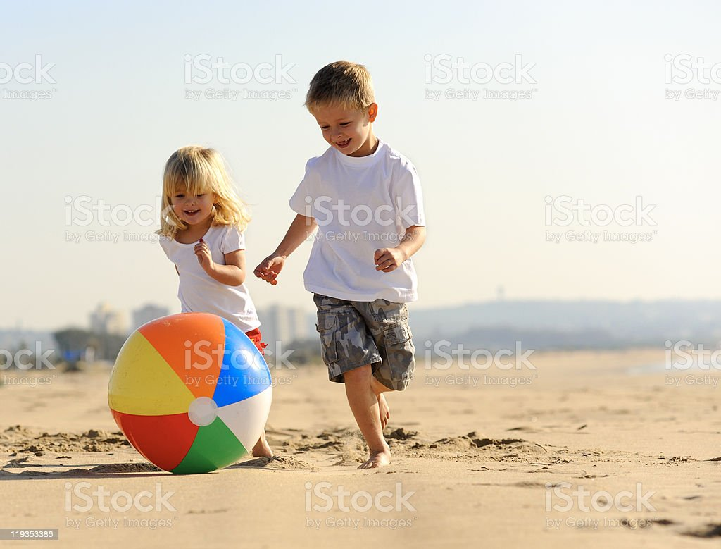 Beach ball joy stock photo