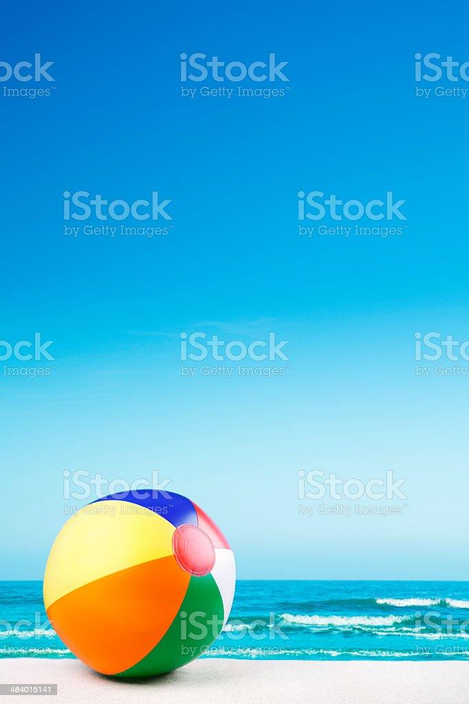 Beach ball on the beach on a clear sunny day royalty-free stock photo