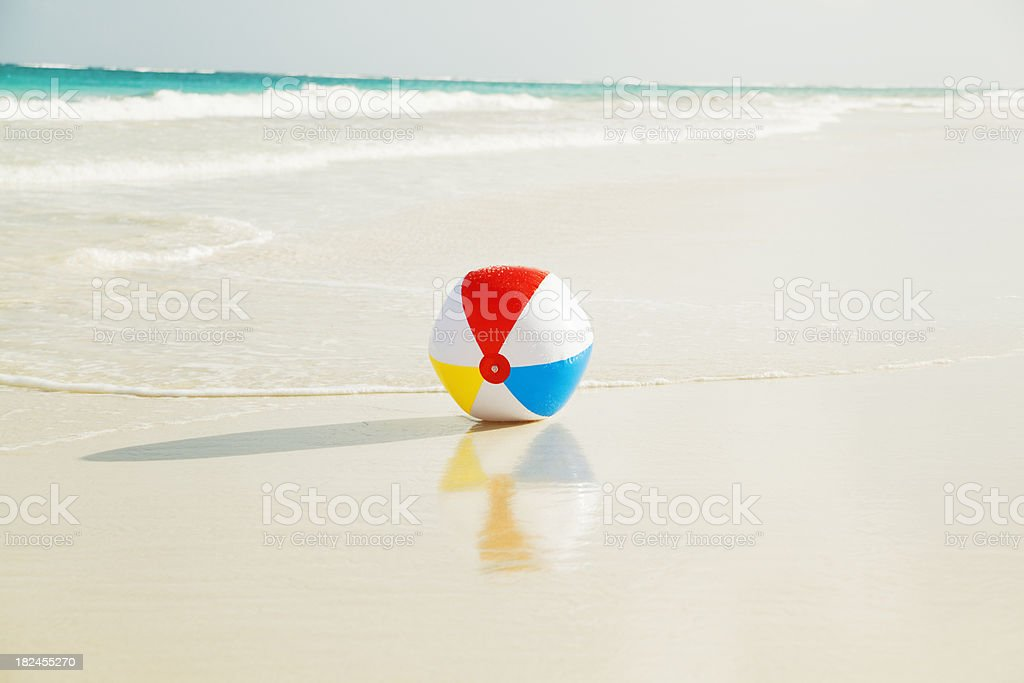 Beach Ball on the Sand of Caribbean Sea royalty-free stock photo